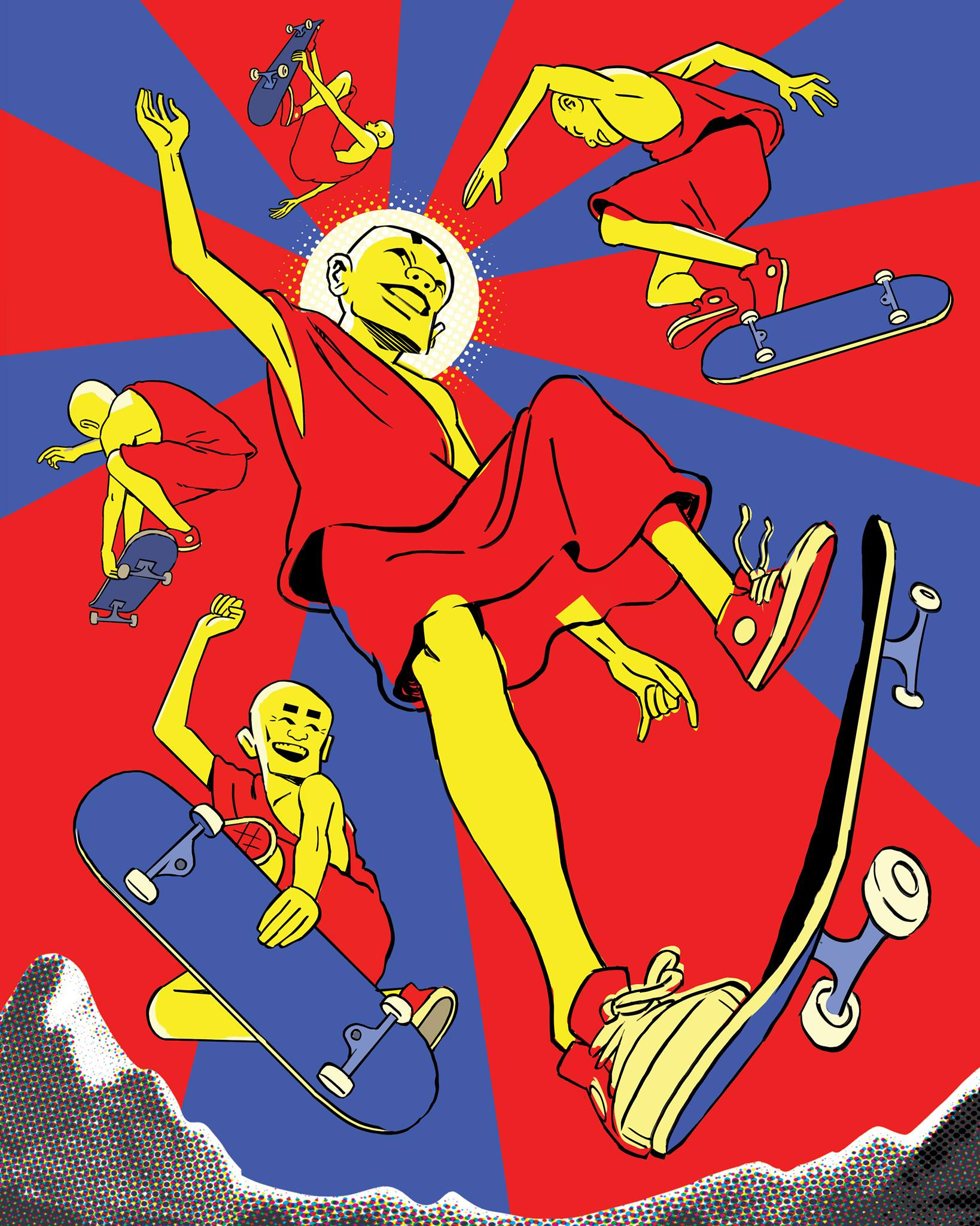 """Monks Skateboarding""By Maximus J Pauson"